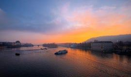 Sonnenuntergang auf die Moldau-Fluss Lizenzfreies Stockbild
