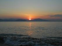 Sonnenuntergang auf Evia-Insel stockfotografie