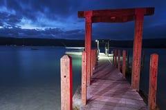 Sonnenuntergang auf Hideway-Insel, Vanuatu lizenzfreie stockbilder