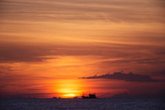 Sonnenuntergang auf Insel Stockfoto