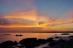 Sonnenuntergang auf kaspischem Stockfotos