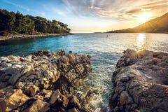 Sonnenuntergang auf Korcula-Insel in Kroatien Stockfotografie