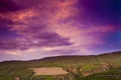 Sonnenuntergang auf Lös1hochebeneporzellan Lizenzfreie Stockfotografie
