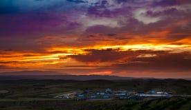 Sonnenuntergang auf Lös1hochebeneporzellan Lizenzfreie Stockfotos