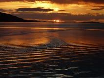 Sonnenuntergang auf Loch-Besen nahe Ullapool, Schottland Lizenzfreies Stockbild
