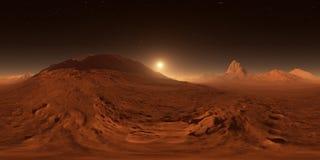 Sonnenuntergang auf Mars Mars-Berge, Ansicht vom Tal Panorama, Karte der Umwelt 360 HDRI Equirectangular-Projektion lizenzfreie abbildung