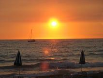 Sonnenuntergang auf Meer Stockfotos
