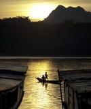 Sonnenuntergang auf Mekong-Fluss Stockfotos