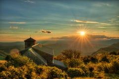 Sonnenuntergang auf mt Nanos über Vipava-Tal Slowenien Mitteleuropa stockfoto