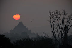 Sonnenuntergang auf Pagode bei Bagan Myanmar lizenzfreie stockfotografie