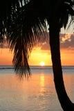 Sonnenuntergang auf Paradies-Insel lizenzfreie stockfotografie