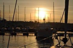 Sonnenuntergang auf Procida Jachthafen Stockfoto