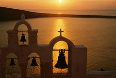 Sonnenuntergang auf Santorini, Griechenland Stockfotos