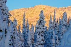 Sonnenuntergang auf Schnee Lizenzfreie Stockfotografie