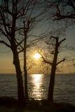 Sonnenuntergang auf See Garda, Italien lizenzfreie stockfotos