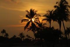 Sonnenuntergang auf Singapur-Strand Stockfotos