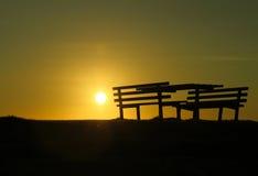 Sonnenuntergang auf Strand Stockfoto