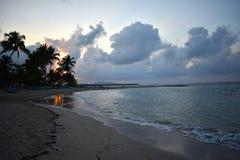 Sonnenuntergang auf Strand mit Palmen Stockbild