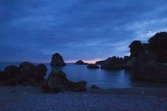 Sonnenuntergang auf Strand Parga Griechenland Piso Krioneri Stockbild