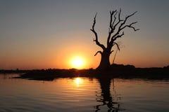 Sonnenuntergang auf Taungthaman See Lizenzfreies Stockfoto