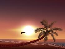 Sonnenuntergang auf tropischer Insel Sun-Sätze im Ozean Lizenzfreie Stockfotografie
