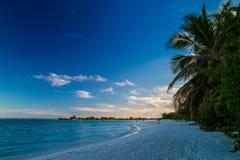 Sonnenuntergang auf weißem sandigem tropischem Strand in Malediven Stockfotografie