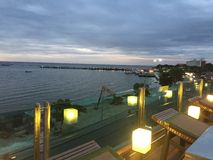 Sonnenuntergang in bangsan, chonburi Thailand Lizenzfreies Stockfoto
