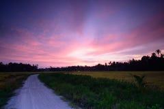 Sonnenuntergang bei Bahau Stockfotos