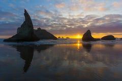 Sonnenuntergang bei Bandon Stockbild