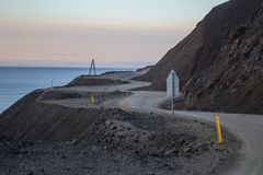 Sonnenuntergang bei Borgarfjordur in Island Stockfotografie