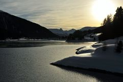 Sonnenuntergang bei Davosersee Stockfotos