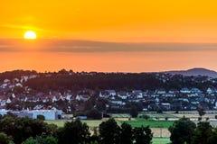 Sonnenuntergang bei Gensungen, Deutschland Lizenzfreies Stockbild
