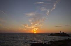 Sonnenuntergang bei Godrevy, Cornwall Stockfoto