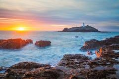 Sonnenuntergang bei Godrevy Cornwall England Lizenzfreie Stockfotos