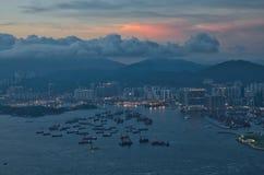 Sonnenuntergang bei Hong Kong Lizenzfreies Stockbild