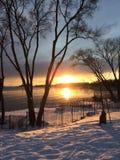 Sonnenuntergang bei Len Ford Park in Toronto, Ontario, Kanada Winter 2018 lizenzfreies stockfoto