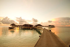 Sonnenuntergang bei Malediven Lizenzfreie Stockbilder