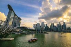 Sonnenuntergang bei Marina Bay, Singapur Lizenzfreie Stockfotografie