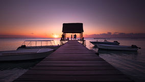 Sonnenuntergang bei Mauritius stockfotografie