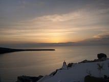 Sonnenuntergang bei Santorini, Griechenland Stockfoto