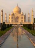 Sonnenuntergang bei Taj Mahal, Agra Stockfotografie
