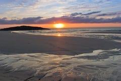 Sonnenuntergang bei Tangasdale Stockfotografie