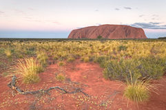 Sonnenuntergang bei Uluru Stockfotografie