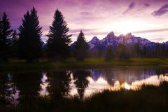 Sonnenuntergang beim großartigen Tetons lizenzfreies stockfoto