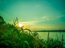 Sonnenuntergang beim Mekong, Thailand stockbild