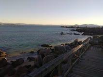 Sonnenuntergang beim RÃas Baixas Galizien Spanien lizenzfreie stockbilder