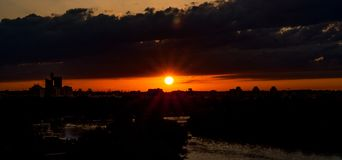 Sonnenuntergang belgrage kalemegdan stockfotos