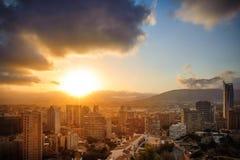 Sonnenuntergang in Benidorm Lizenzfreies Stockfoto