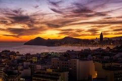 Sonnenuntergang Benidorm stockfoto