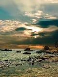 Sonnenuntergang über dem Meer. Stockbilder